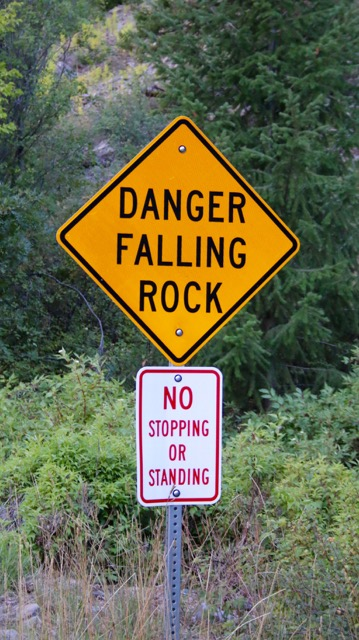 Post 23B Danger Falling Rock Sign