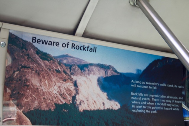 Post 23G Beware of Rockfall Bus Sign