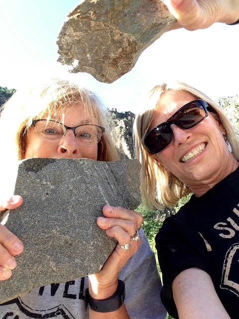 Post 23J Anita and Karen with Rocks IM